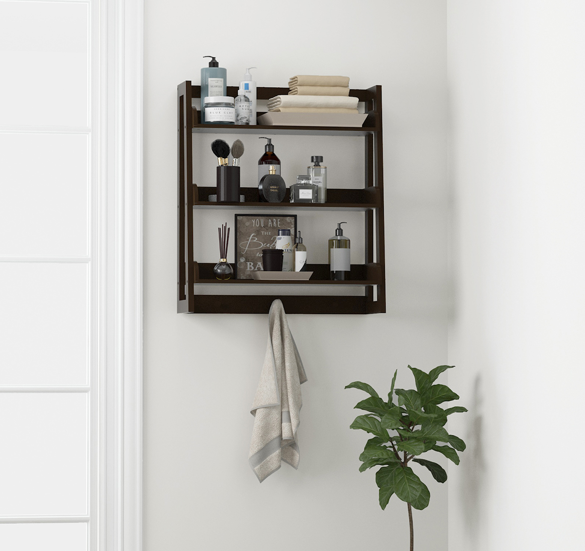 Spirich Bathroom Shelf Wall Mounted, Ladder Wall Shelf, Espresso
