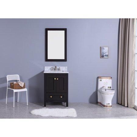 Legion Furniture 25 In Bathroom Vanity Espresso With Marble Top And Mirror