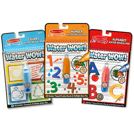 Melissa & Doug On the Go Water Wow! Water-Reveal Activity Pads Set - Colors, Numbers, Alphabet - Set Number