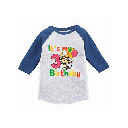 Baseball Gifts For Boys (Awkward Styles Monkey Birthday Toddler Raglan Birthday Monkey Jersey Shirt 3rd Birthday Baseball Shirt for Boys Cute Monkey Birthday Girl Shirt Funny Gifts for 3 Year Old Monkey Birthday)