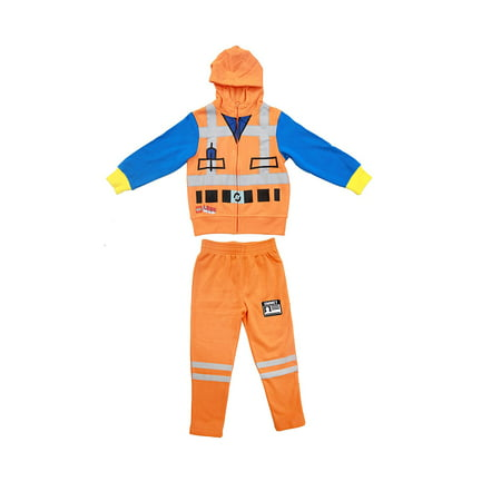Lego Movie Emmet Orange Boys Two-Piece Zip-Up Costume Hoodie & Sweatpants Set - Pants Costume
