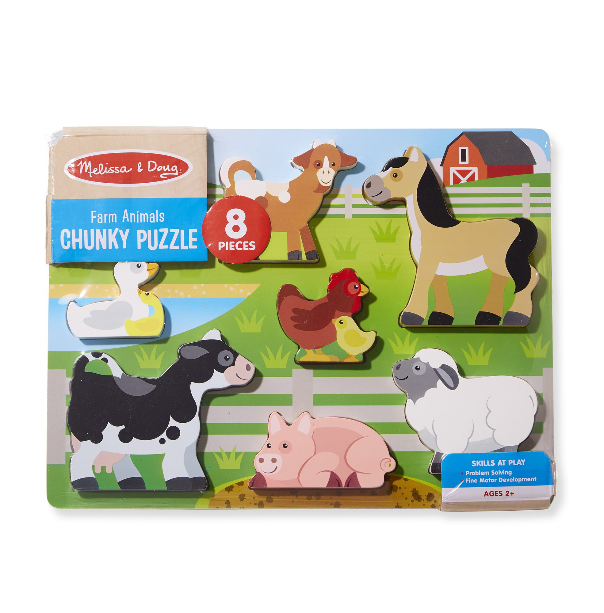 Melissa Doug Wooden 8 Piece Farm Animals Chunky Puzzle Walmart Com