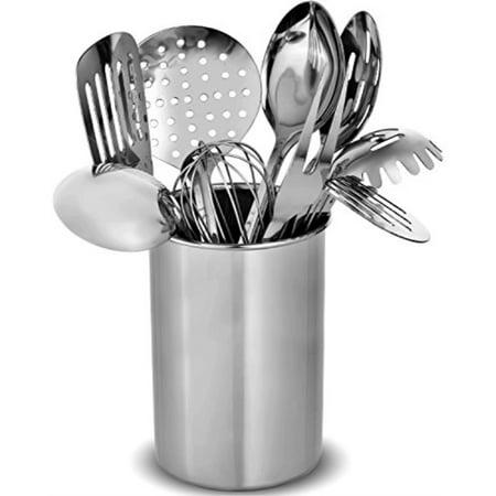Stainless Steel Kitchen Utensil Set - 10 Modern Utensils, NonStick Heat  Resistant Kitchen Gadgets, Turner, Spaghetti Server, Ladle, Serving Spoons,  ...