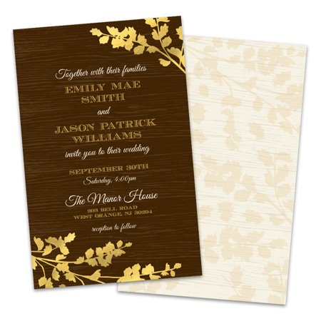 Personalized Wedding Invitations.Personalized Golden Leaves Wedding Invitations