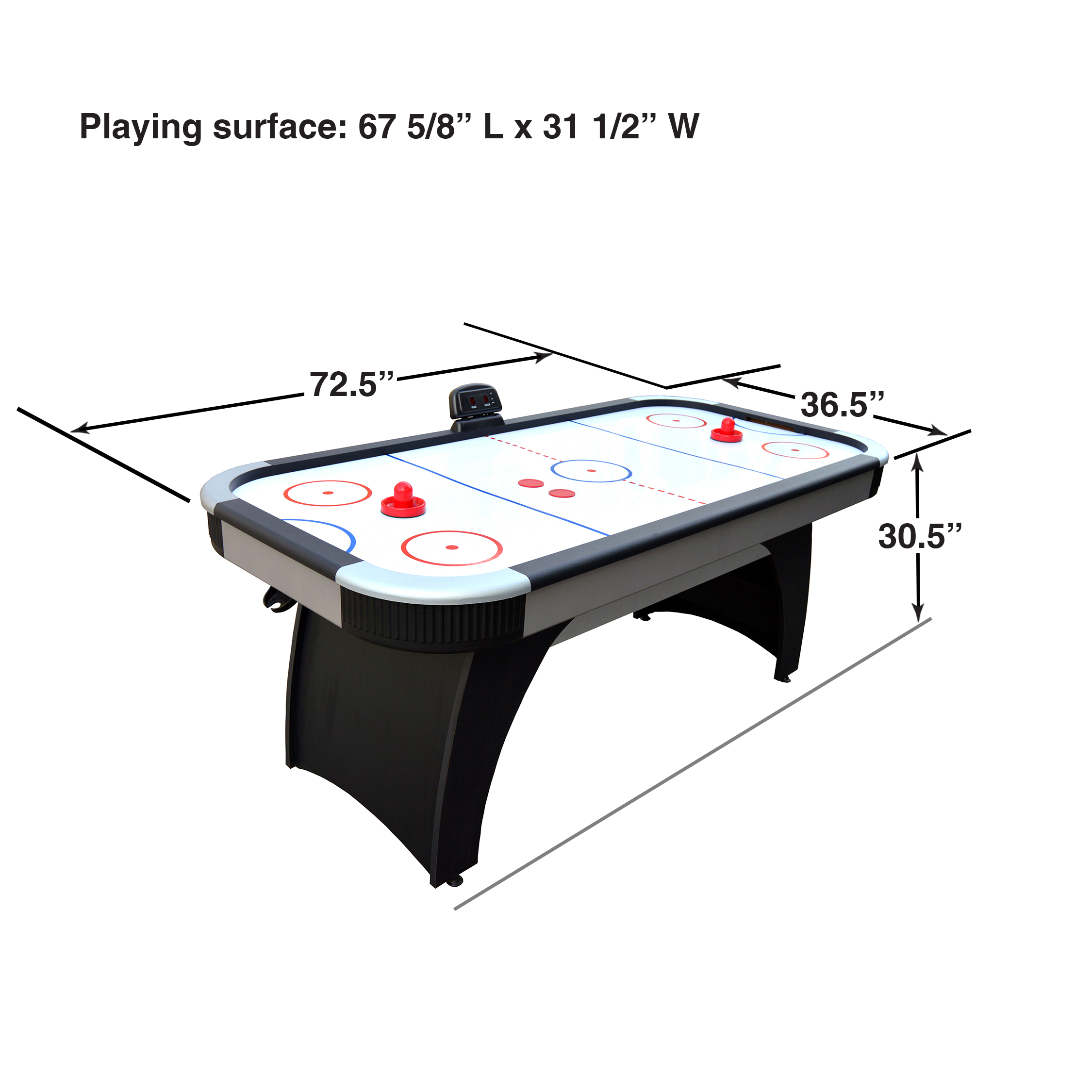 Hathaway Silverstreak 6 Foot Air Hockey Game Table For Family Game Rooms With Electronic Scoring