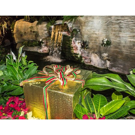 Canvas Print Holiday Waterfall Garden Poinsetta Gaylord Palms Stretched Canvas 10 x - Palm Waterfall