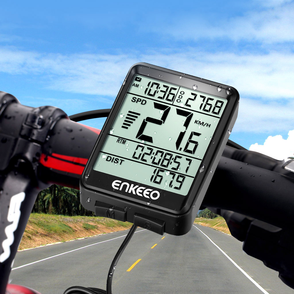 Enkeeo Wired Waterproof Digital LCD Cycle Bicycle Bike Computer Odometer Speedometer Cycling