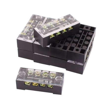 10pcs 600V 15A 4 Position 2 Row Covered Screw Terminal Barrier Blocks  Connector