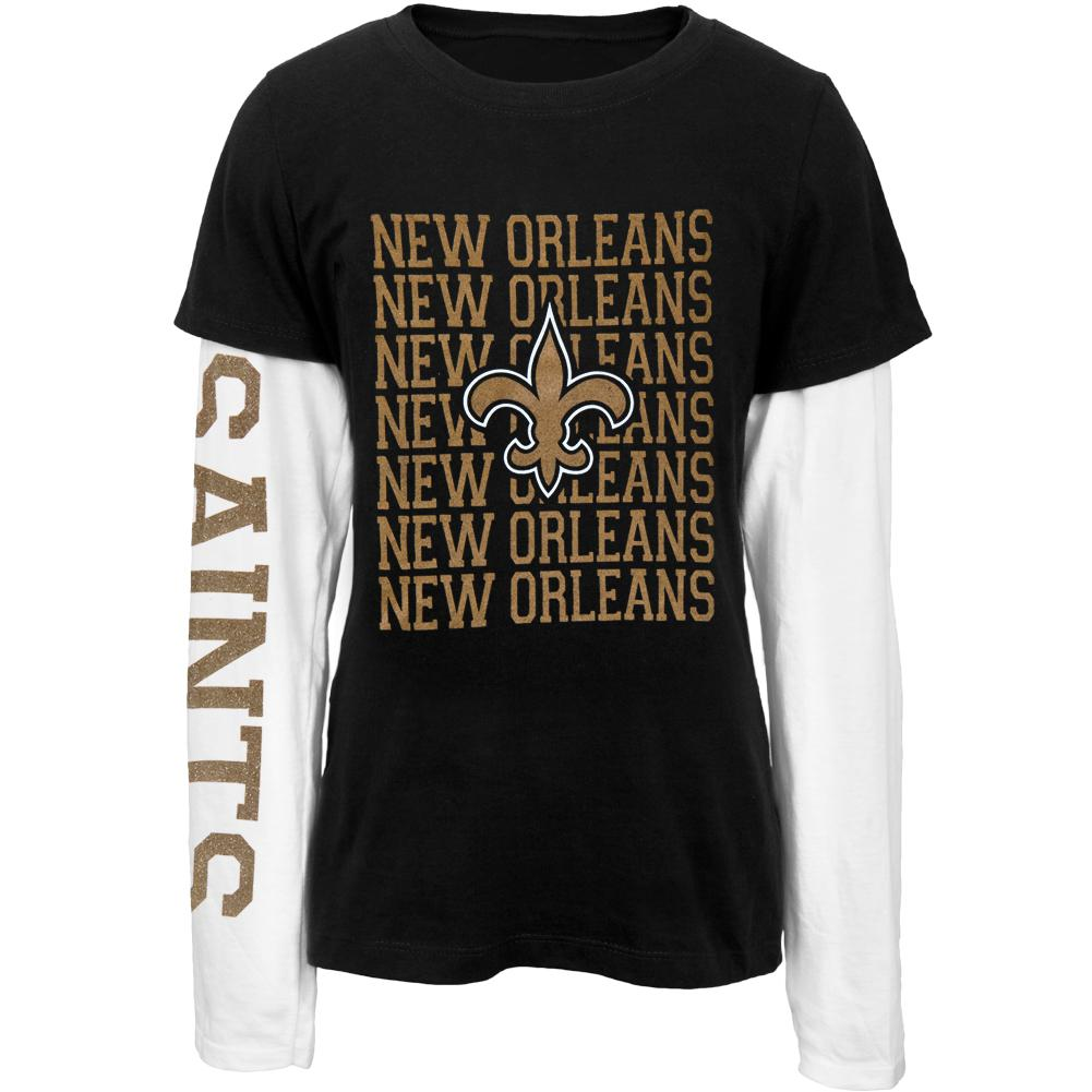 New Orleans Saints - Team And Logo Youth 2Fer Long Sleeve T-Shirt