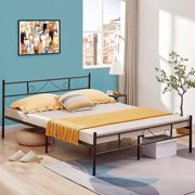 Homylin Queen Bed Frame Double Bed Frame Single Metal Platform Mattress Foundation with Headboard & Footboard