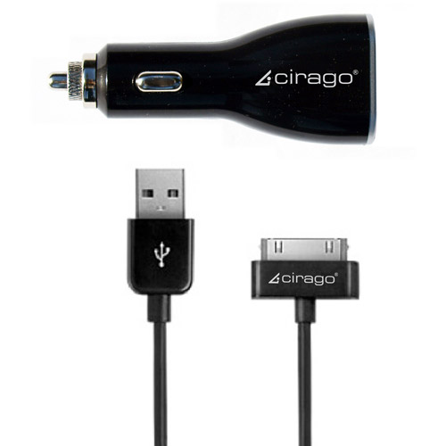 Cirago Dual Usb Car Charger With Sync Cable For Ipod
