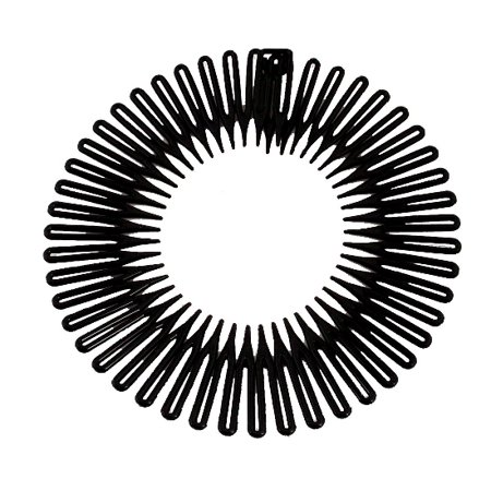 CARAVAN® FULL CIRCLE SPRING HEAD BAND COMB IN CLASSIC BLACK WITH DEEP TEETH AND CLOSURE