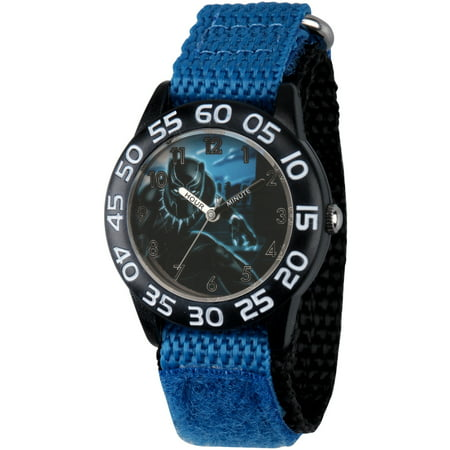 Black Panther & Avengers Boys' Black Plastic Time Teacher Watch, Blue Hook and Loop Nylon Strap with Black Backing (Kids Avengers Watch)