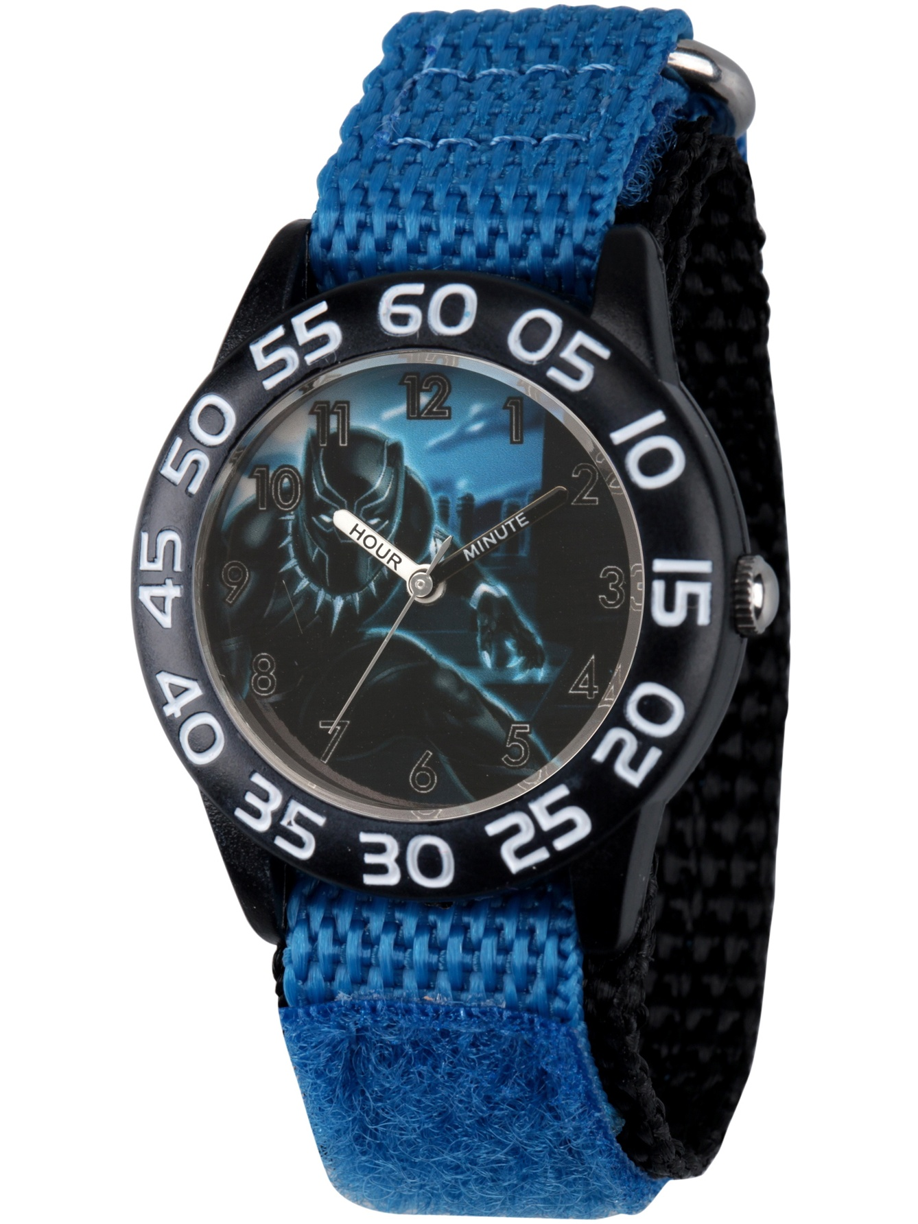Black Panther & Avengers Boys' Black Plastic Time Teacher Watch, Blue Hook and Loop Nylon Strap with Black Backing