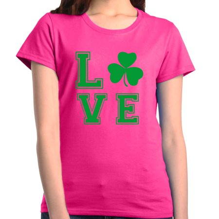 Shop4Ever Women's Love Shamrock Green Lucky St. Patrick's Day Graphic (St Patrick's Day Tee Shirts)