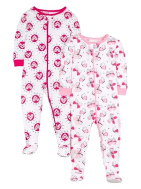 Little Star Organic Baby Toddler Girl Pure Organic Footed Snug Fit Stretchie Pajamas, 2-Pack