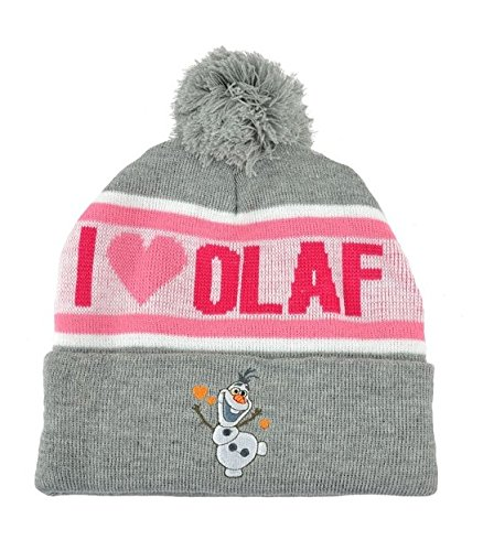 Disney Frozen I Love Olaf Women Ladies Cuffed Pom Beanie Knit Hat Heather Winter