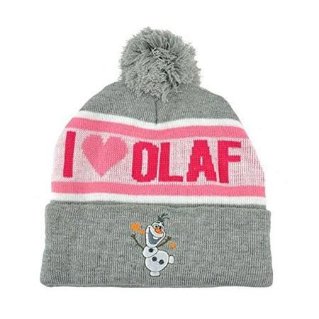 6db9276cb7be6 Disney Frozen I Love Olaf Women Ladies Cuffed Pom Beanie Knit Hat Heather  Winter - Walmart.com