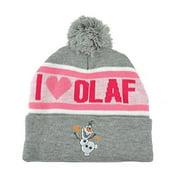 8cbe9897d Disney Frozen I Love Olaf Women Ladies Cuffed Pom Beanie Knit Hat Heather  Winter