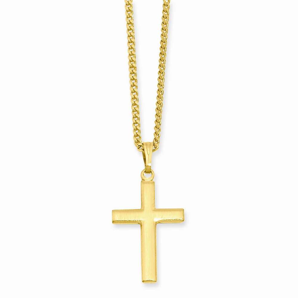18in Gold-plated Medium Cross Necklace. Lovely Leatherrete Gift Box Included