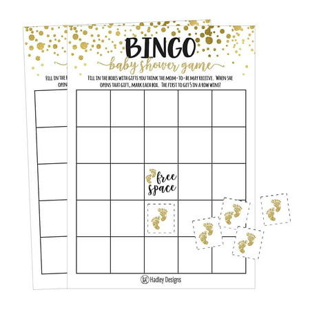 25 Gold Bingo Game Cards For Baby Shower, Bulk Blank Bingo Squares, PLUS 25 Pack of Baby Feet Game Chips, Funny Baby Party Ideas and Supplies For Girl or Boy, Cute Paper Pattern For Kids and Children - Boys Party Ideas