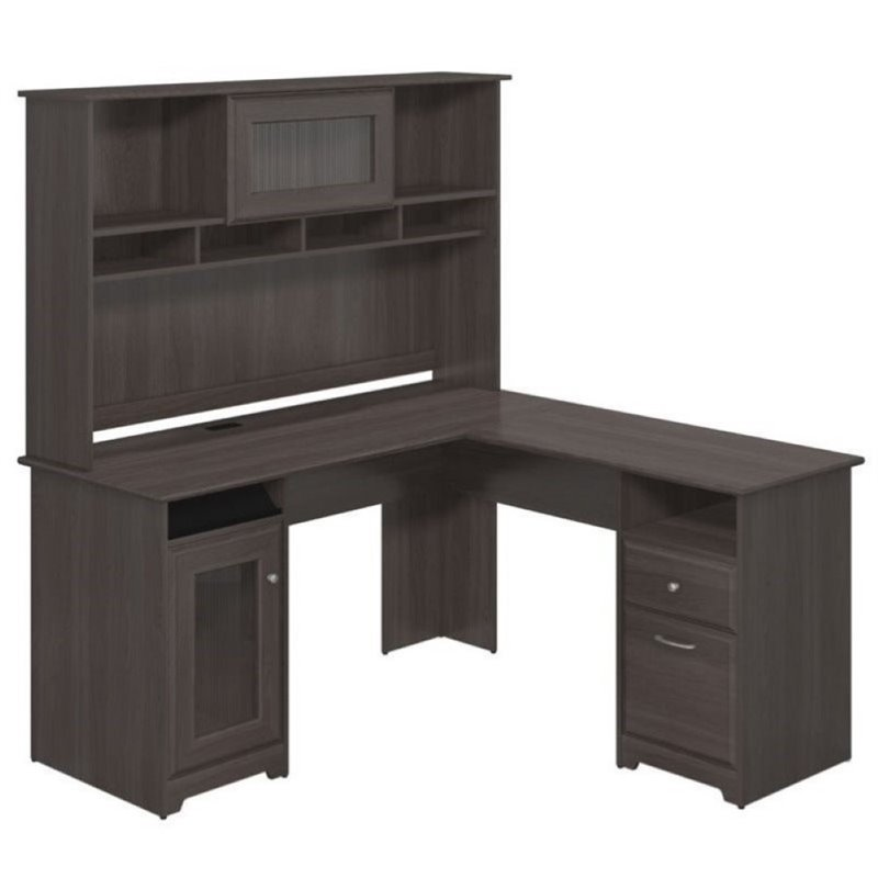 "Bush Cabot 60"" L-Shape Desk with Hutch in Heather Gray"