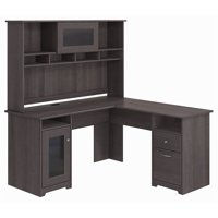 Cabot L Shaped Desk with Hutch in Heather Gray - Engineered Wood