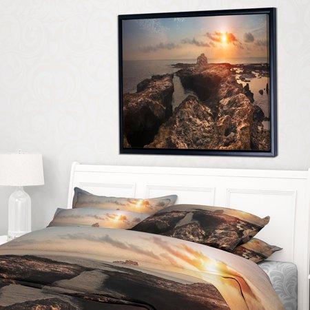 DESIGN ART Designart 'Rocky African Coast Panorama' Oversized Beach Framed Canvas Artwork (African Art Work)