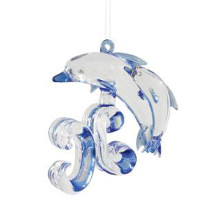 Family of Dolphins Glass Christmas Tree Ornament ()