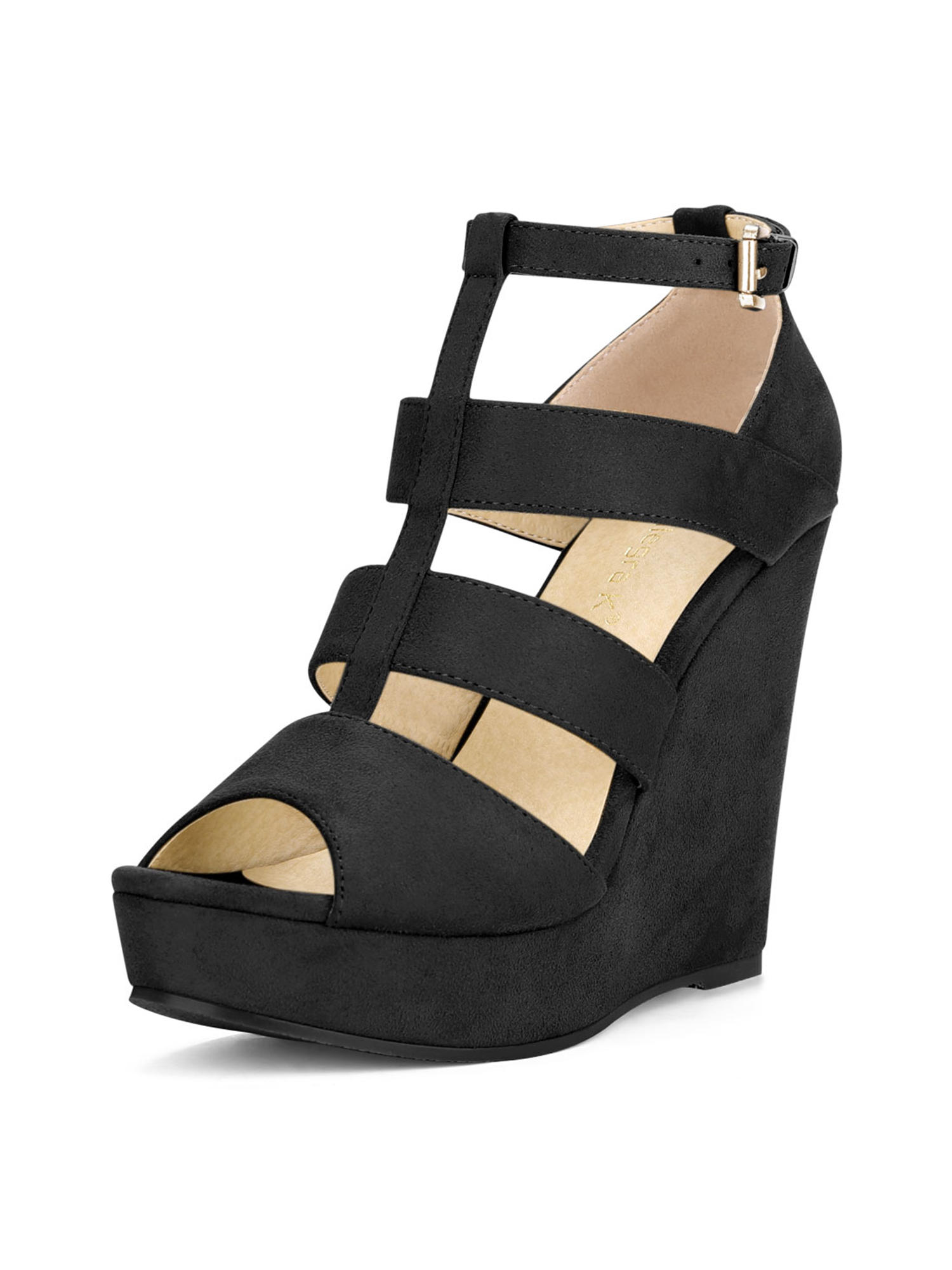 17436eaa2c7c Unique Bargains Women s High Platform Peep Toe Cutout Wedge ...