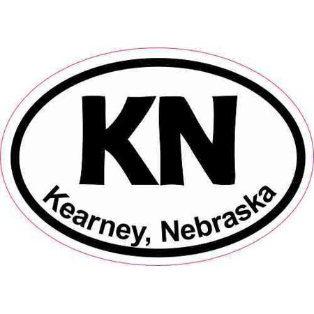 3inx2in oval kn kearney nebraska sticker luggage decal car window stickers