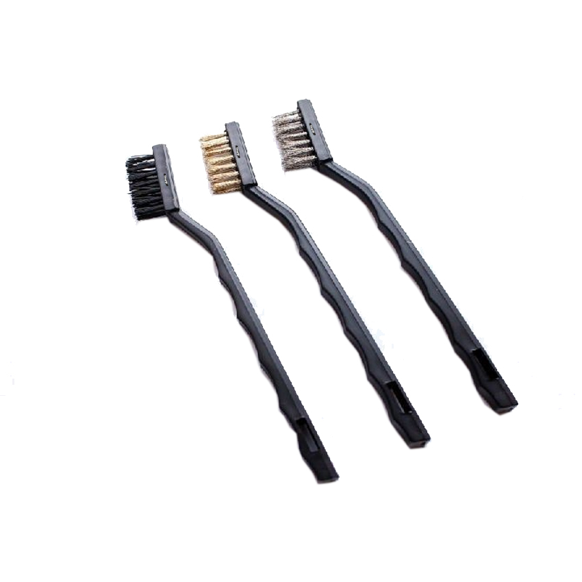 """3 Piece 9/"""" Brush Set 1 Steel 1 Brass 1 Nylon Bristle Ideal for Auto Cleaning"""