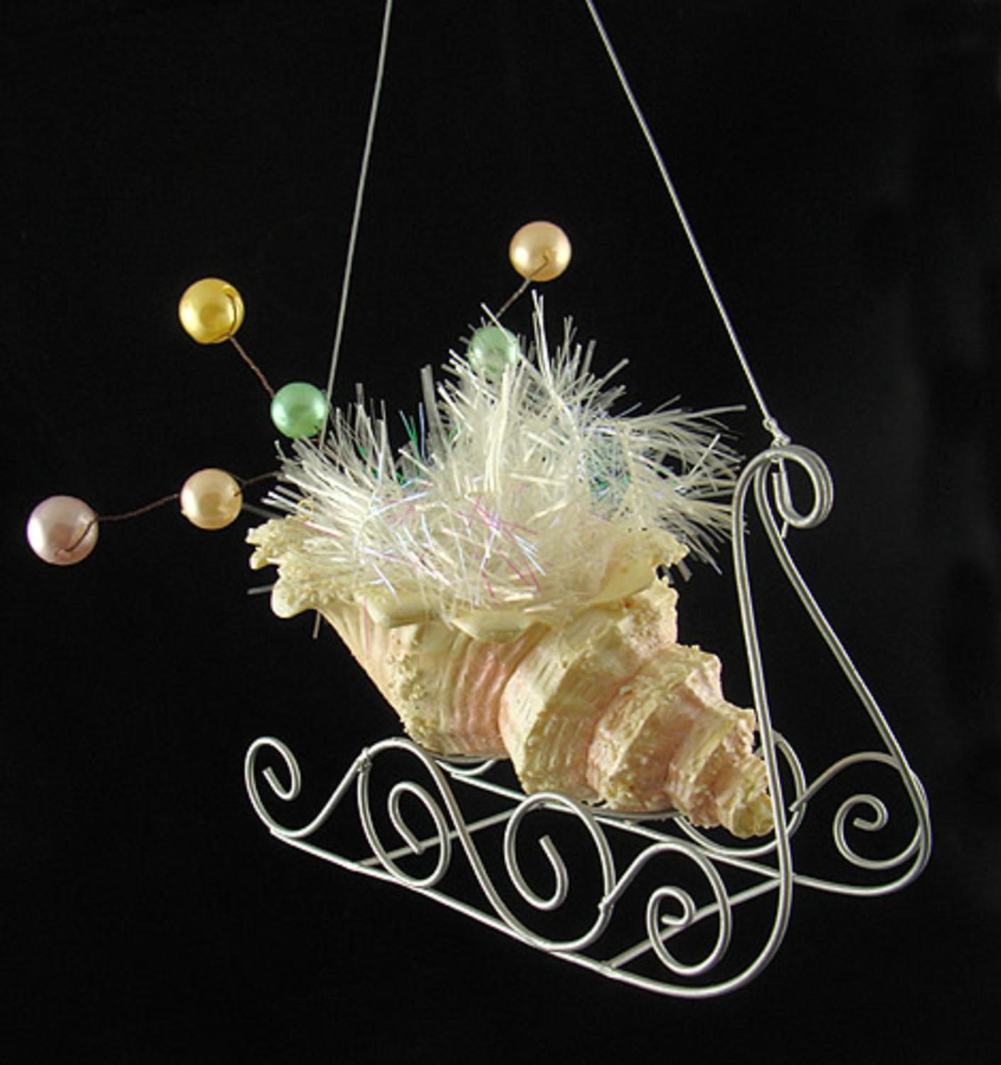 Seashell Sleigh With Pearls & Tinsel Christmas Ornament