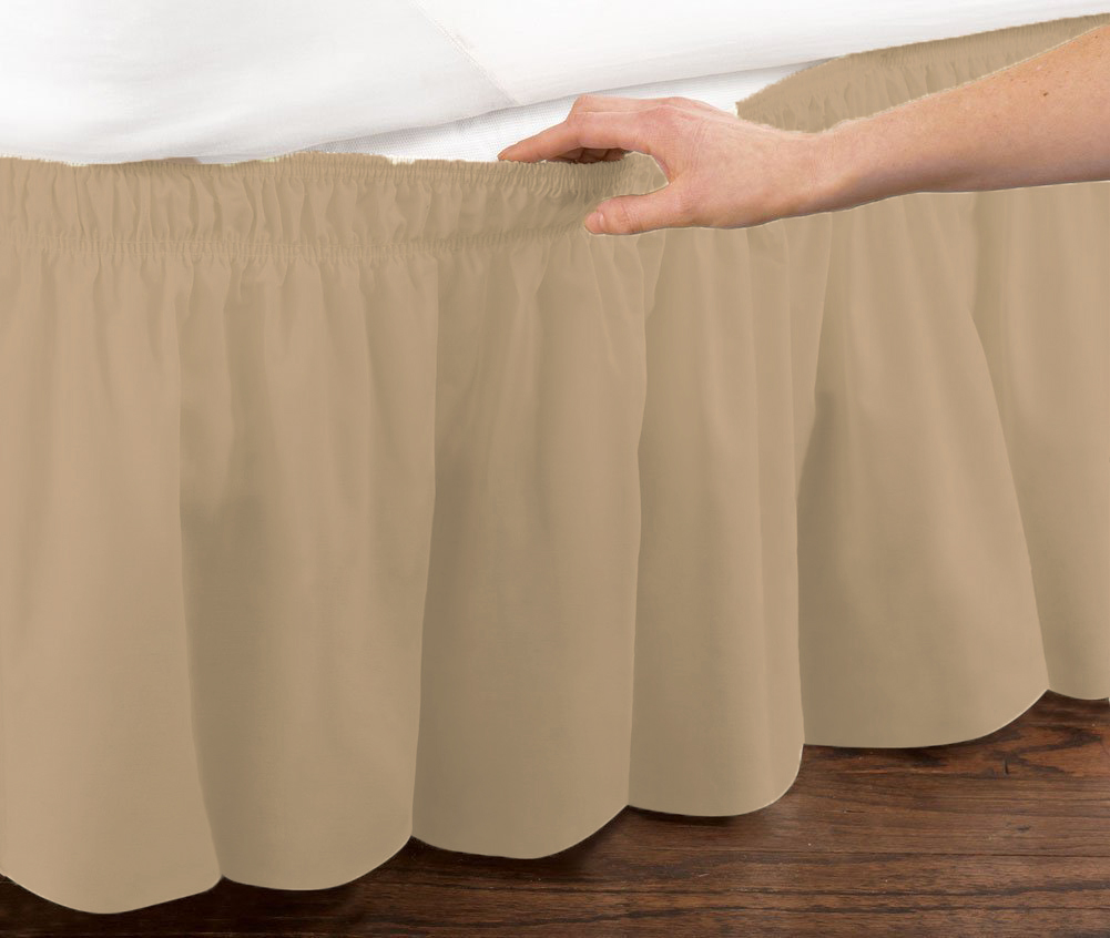Mocha Elastic Ruffled Bedskirt: Wrap Around Easy Fit, Twin or Full Size by