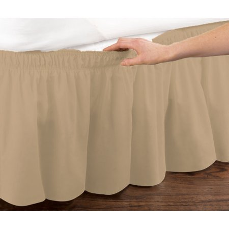 Mocha Elastic Ruffled Bed Skirt: Wrap Around Easy Fit, Twin or Full Size