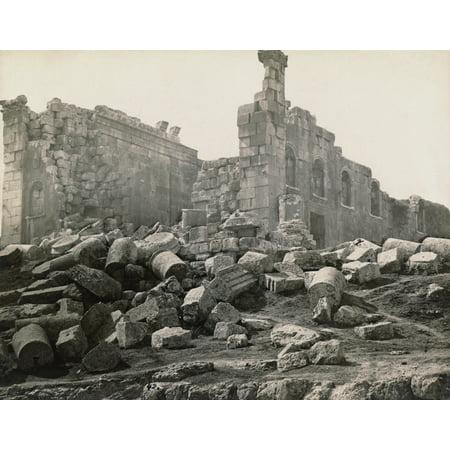 Jordan Roman Ruins Nruins Of The Roman Temple Of Zeus Built In The 2Nd Century Ad At Jerash Jordan Photograph Late 19Th Century Rolled Canvas Art     24 X 36