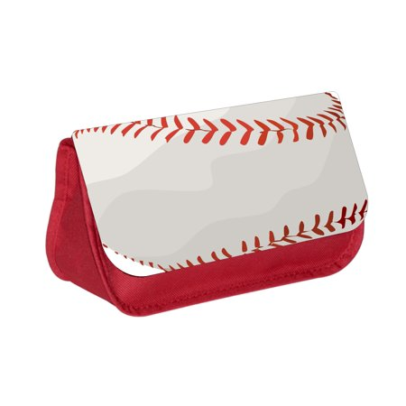 Baseball Pencils (Baseball Up-Close - Boys / Girls Red Pencil Case - Pencil Bag - with 2 Zippered Pockets and Nylon)