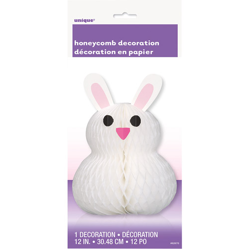 "12"" Honeycomb Bunny-Shaped Easter Decoration"