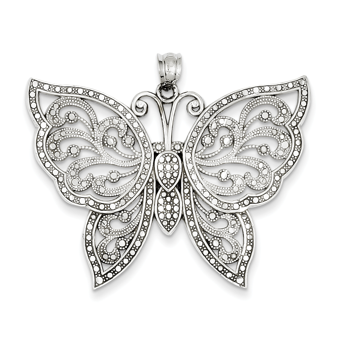 Roy Rose Jewelry 14K White Gold Diamond-cut Butterfly Pendant