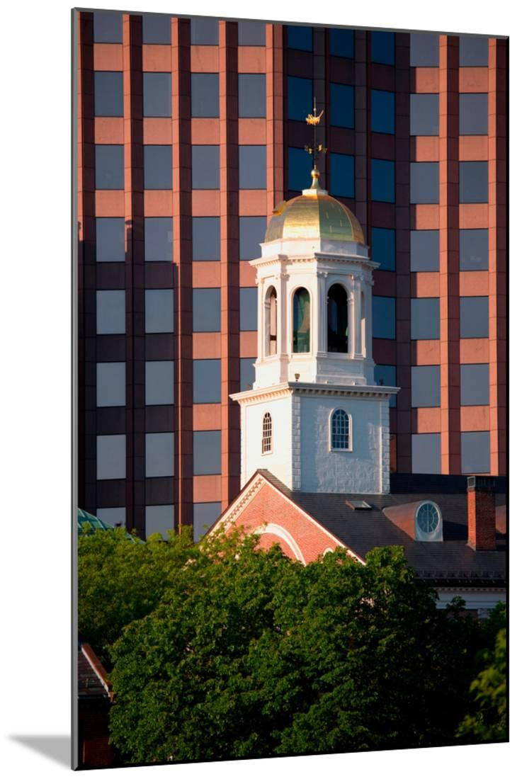 Faneuil Hall Weather Vane Tower, Built In 1740 1742, Is Surrounded By  Contemporary Office Buildi... Wood Mounted Print
