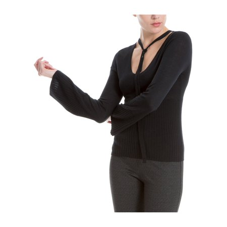 MAX STUDIO Womens Black Tie Neck Long Sleeve Scoop Neck Wear To Work Sweater  Size: (V Neck Sweater With Shirt And Tie)