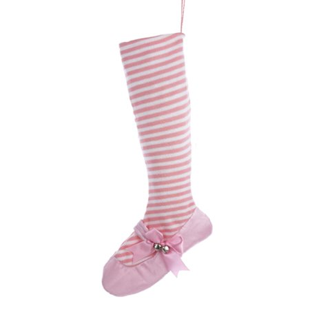 24   Pretty In Pink White Striped Ballet Shoe Christmas Stocking