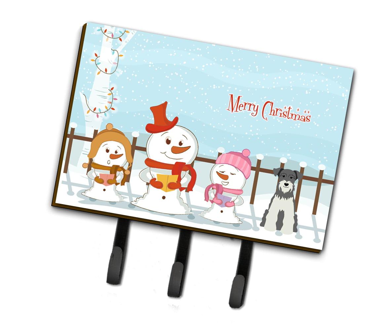 Carolines Treasures Merry Christmas Carolers Miniature Schanuzer Salt and Pepper Leash or Key Holder BB2385TH68 Triple,