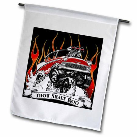 Speed Racer Flag - 3dRose Thou shalt rod, classic racer, bursting through fire and smoke - Garden Flag, 12 by 18-inch