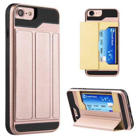 Multiple Holder - iPhone 8 Wallet Case [Dual Layer] [Stand] Premium iPhone 8 Case with Card Holder Protective Leather Cover with Multiple Angle Magnetic Lock Stand Snap on Case - Rose Gold, Magnetic Kickstand