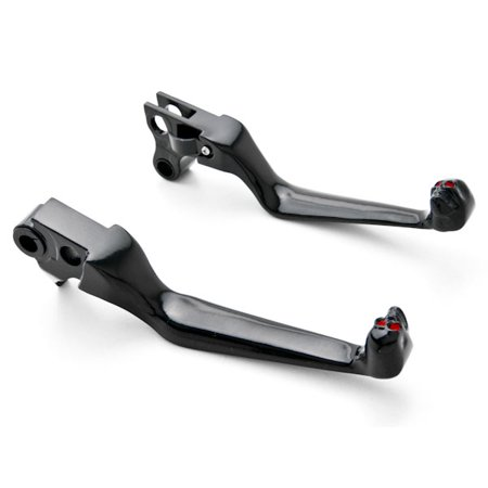 Krator Black Clutch + Brake Skeleton Skull Hand Levers For 1996-2012 Harley Davidson FXDL Dyna Low Rider