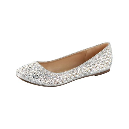 Womens Silver Glitter Flats Rhinestone Shoes Glitter Fabric Round Toe Dressy