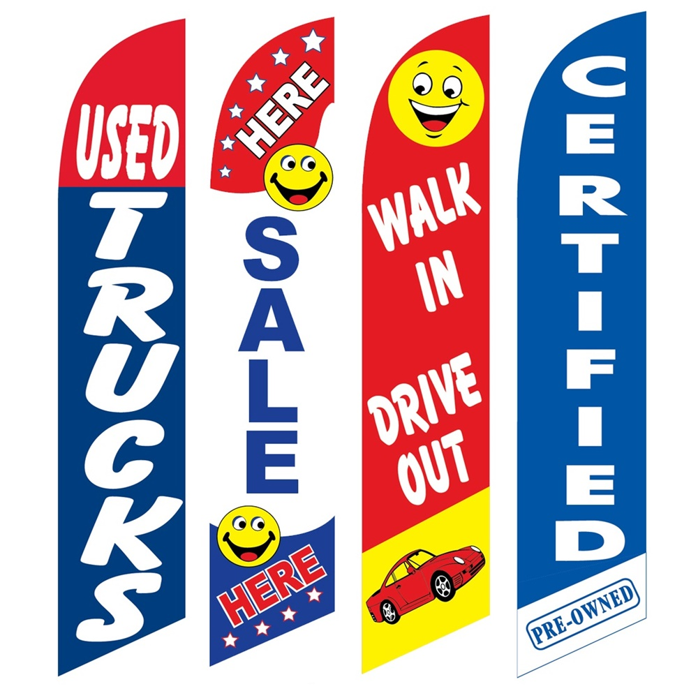 4 Advertising Swooper Flags Used Trucks Sale Here Walk In Drive Out Certified