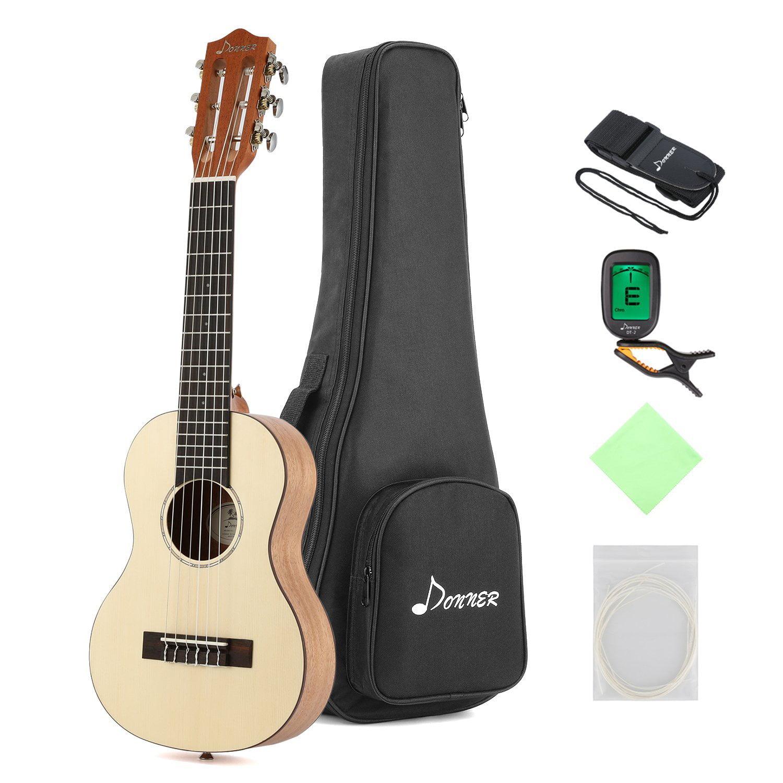 Donner Guitalele DGL-1 28'' Travel Guitar Ukulele Package 6 String Ukulele Spruce Mahogany... by Donner