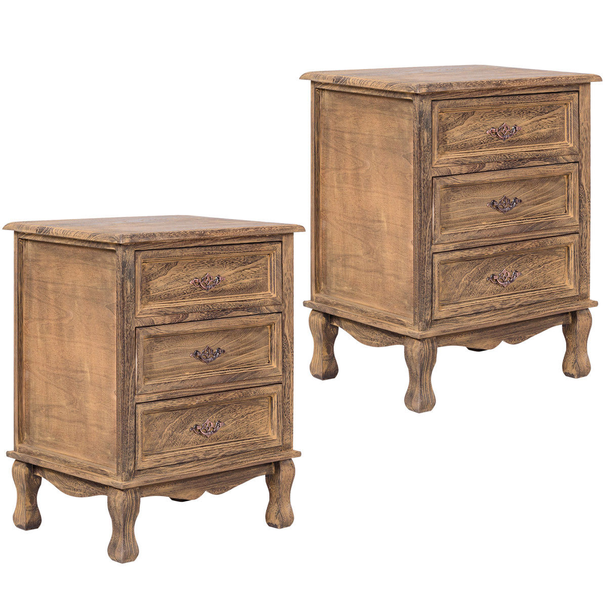 Gymax 2PCS 3 Drawers Nightstand Storage Wood End Table Side Bedside